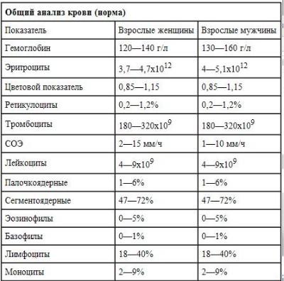 Таблица общего анализа крови — нормы и отклонения
