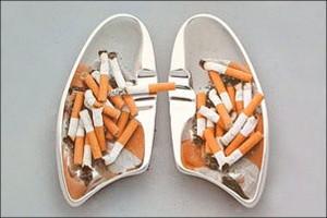 Курение - огромный вред легким!